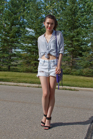 Zara top - botkier bag - Zara shorts - G by Guess sandals