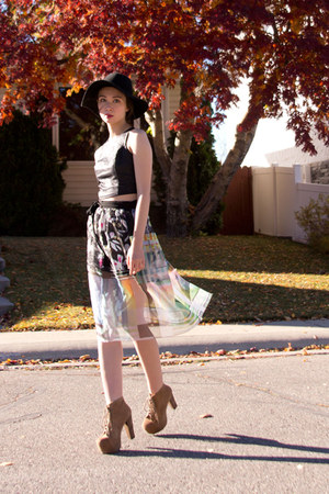 Clover Canyon skirt - lita Jeffrey Campbell boots - felt Anthropologie hat