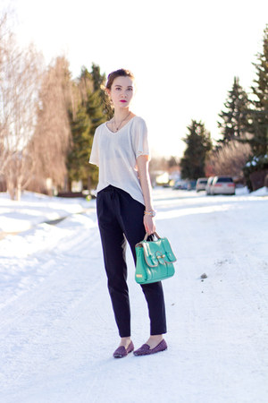 navy Zara pants - turquoise blue botkier bag - deep purple BCBGeneration loafers
