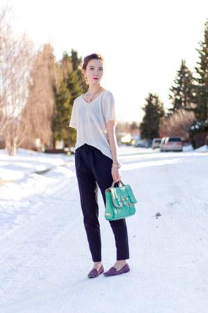 navy Zara pants - turquoise blue botkier bag - deep purple BCBGeneration loafers