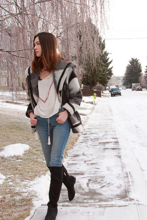 Anthropologie coat - calvin klein boots - RES DENIM jeans - Nasty Gal top