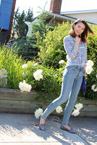 light blue gauze J Crew top - sky blue rag & bone jeans - botkier bag