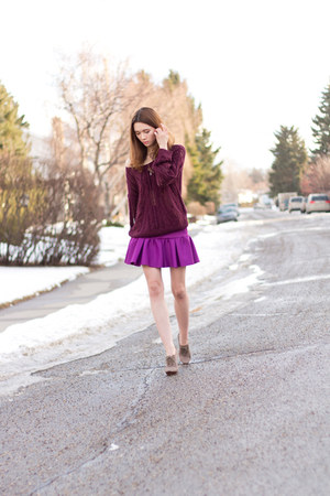 maroon H&M sweater - purple asos skirt - heather gray Aldo heels