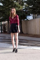 black nero Nine West boots - black Zara skirt - maroon Anthropologie top