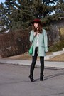 Black-townshoes-boots-aquamarine-mint-glamorous-coat