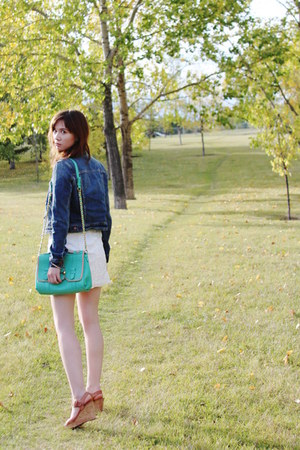 lace All Saints dress - denim American Eagle jacket - botkier purse
