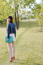 denim American Eagle jacket - lace All Saints dress - botkier purse