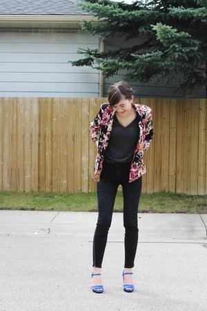 Urban Outfitters blazer - J Brand jeans - Zara sandals - pink t-shirt