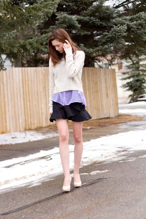 Spring heels - American Eagle sweater - Zara skirt - Bluenotes top