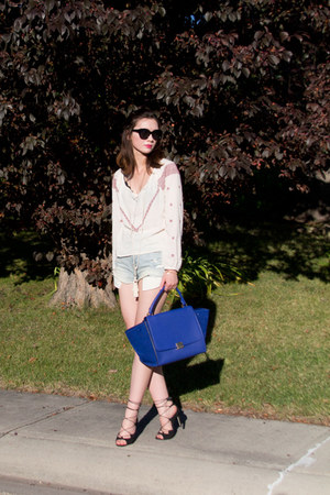 blue Celine bag - light blue American Eagle shorts