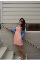 peach with pockets H&M dress - ivory H&M shoes - faux denim H&M shirt