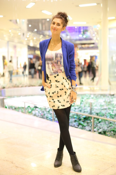 blue Zara blazer - white printed H&M top - light pink H&M skirt