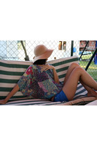 camel Bershka hat - blue shorts - bubble gum vintage blouse