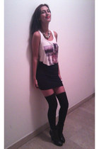 black leather H&M boots - black short H&M skirt - white printed H&M top