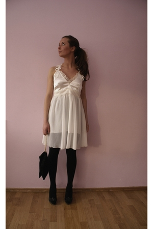white dress - black shoes