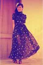 star printed dress - belt - wedges - earrings - accessories