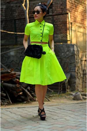 neon crop top aj store top - neon midi skirt aj store skirt