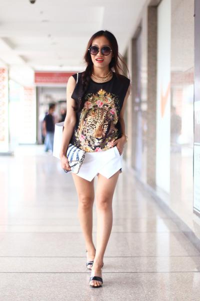 digital print Forever 21 vest - skort white stylholic skirt