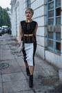 Black-leather-booties-h-m-boots-black-balmain-top