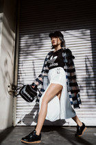 silver raincoat Zara coat - black snapback Zara hat - black sling Adidas bag