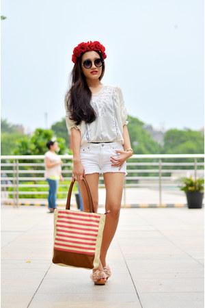 white texas tote bag American Swan bag - white white shorts aj store shorts