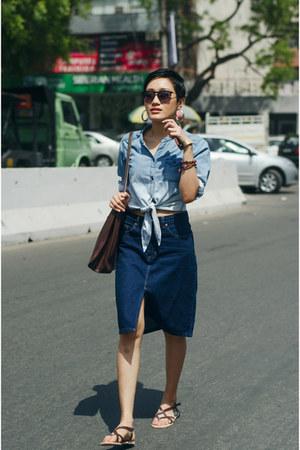 light blue denim aj store shirt - navy denim aj store skirt
