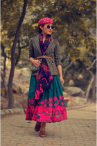 brown asos belt - aj store blazer - silver sling aj store bag - aj store skirt
