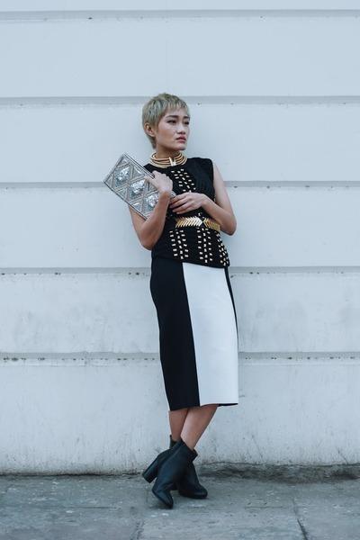 black leather booties H&M boots - black Balmain top