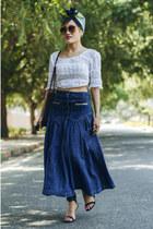 navy aj store skirt - white Billabong top - black strappy Zara sandals