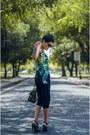 Black-sweat-capris-max-fashion-shorts-green-tropical-print-max-fashion-top