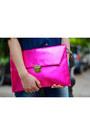 Denim-shirt-american-apparel-shirt-hot-pink-koovs-bag-nude-forever21-heels
