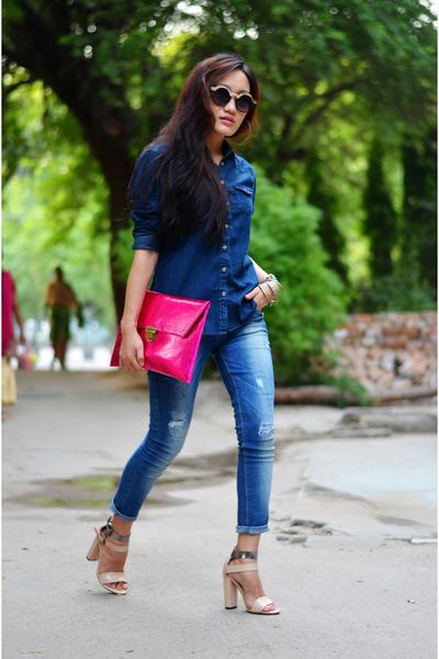 hot pink Koovs bag - denim shirt American Apparel shirt - nude Forever21 heels