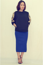 gold embroidery AJ sweatshirt - strappy stones AJ heels - AJ skirt