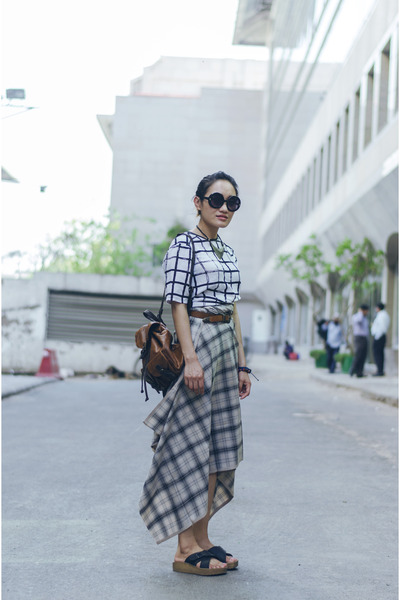 black aj store top - tan aj store skirt
