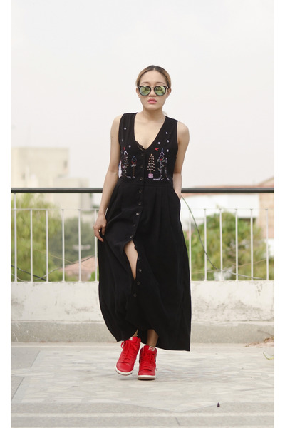 red wedge nike sneakers - black vintage dress aj store dress