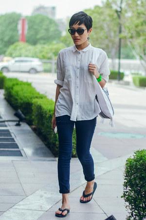white white basic aj store shirt - navy slim fit aj store jeans