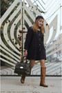 Brown-dulla-shoes-boots-navy-coat-dress-aj-store-dress