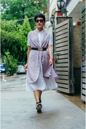 periwinkle aj store vest - white shirt dress aj store dress