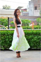 lace aj store flats - neon maxi aj store dress - strappy Zara heels - Zara belt