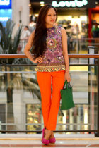 green vintage bysi bag - bysi top - neon orange bysi pants