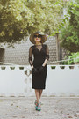Black-bodycon-lace-french-connection-dress-black-french-connection-hat
