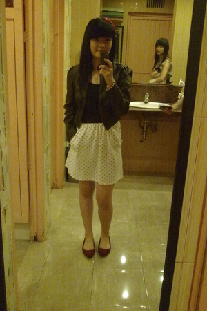 brown dont know jacket - black dont know dress - red Vincci shoes - red handmade