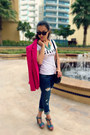 Guess-jeans-hot-pink-zara-blazer-white-celine-shirt-black-ysl-bag