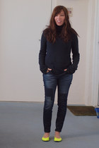 navy patched skinny AG jeans - navy turtleneck Gap sweater