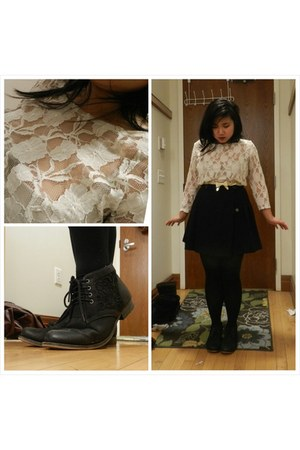 maroon thrifted coat - dark gray unknown boots - ivory sheer lace unknown blouse