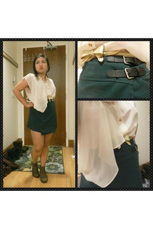 brown Steve Madden boots - dark green H&M skirt - ivory Forever 21 blouse
