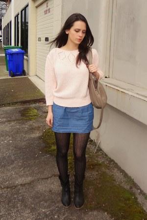vintage sweater - cowboy boots - denim skirt