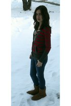brown Uggs boots - navy Guess jeans - black Dillards top - red American Eagle ca