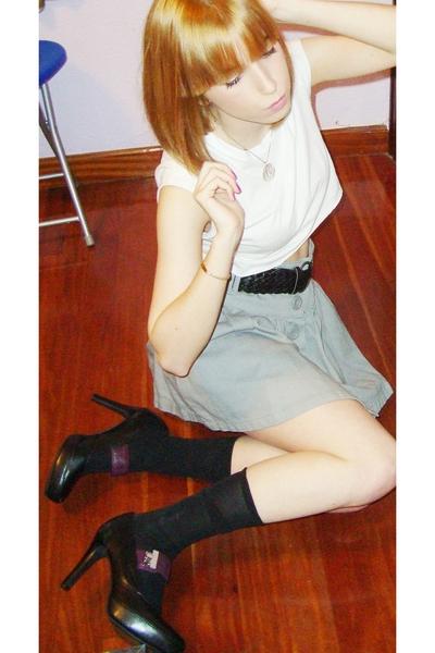 H&M top - Stradivarius skirt - Stradivarius belt - Calzedonia stockings - Bimba
