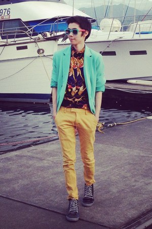 blue baroque thrifted shirt - black Schulong shoes - mustard thrifted jeans